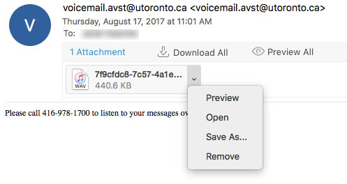 Example of email with audio voicemail message